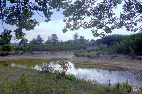 Aire d'autoroute: un petit lac
