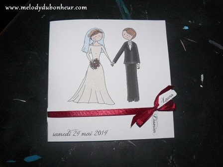 """Faire part illustration """"mariés"""""""