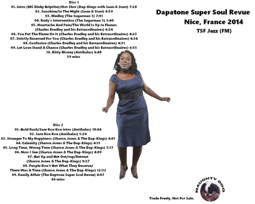 "2014 : Album "" Daptone Super Soul Revue Live at the Theatre de Verdure, Nice, France July 07, 2014 "" CD Naughty Dog Records [ FR ]"