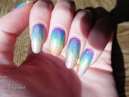 Nail Art Holographic Rainbow