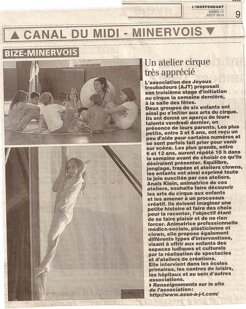 Article dans L'Indépendant sur les stages du mois d' Août 2014