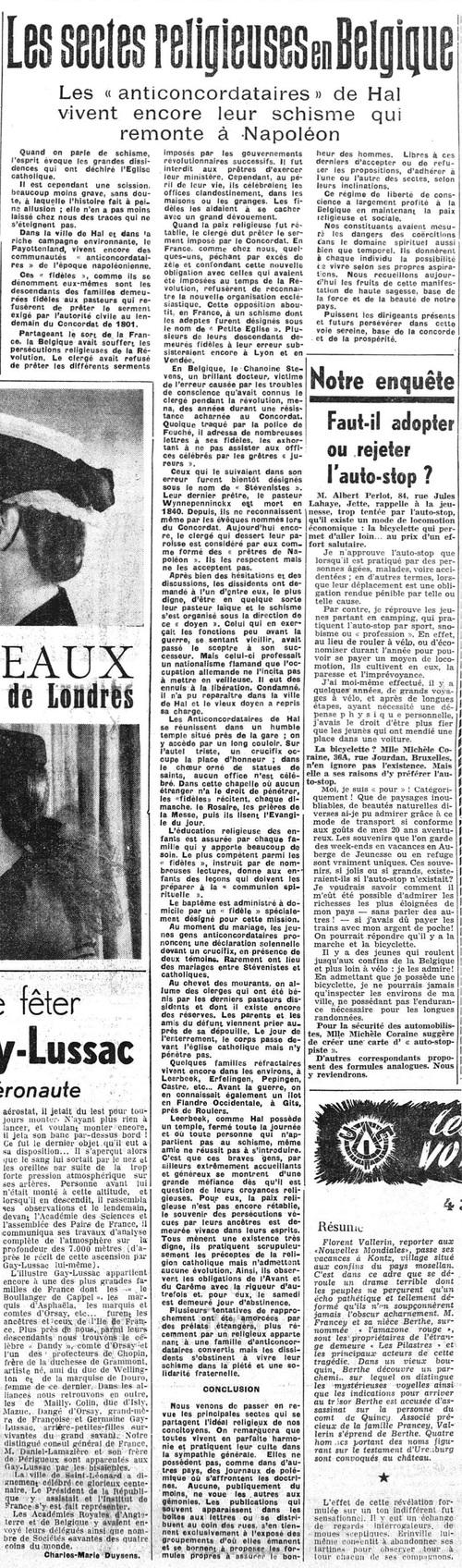 Les sectes religieuses en Belgique : Les « anticondordataires » de Hal (La Lanterne, 17 mai 1950)(Belgicapress)