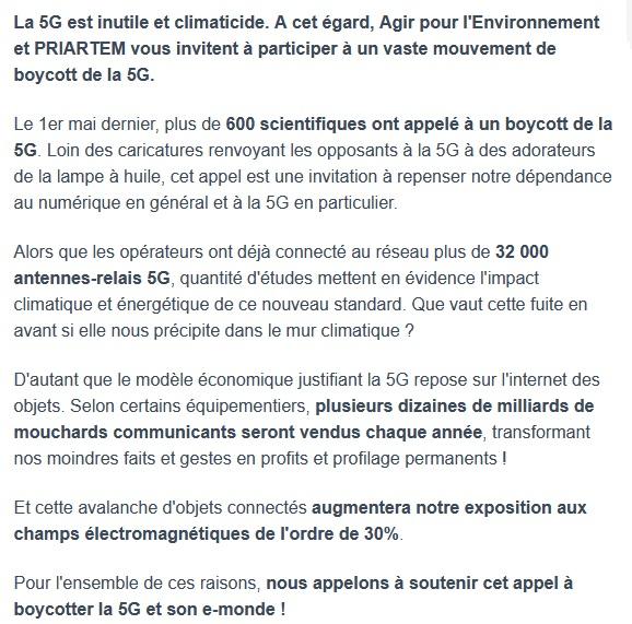Agir pour l'environnement >>> Appel au boycott de la 5G
