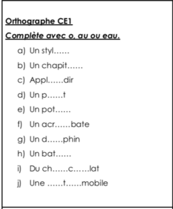 Orthographe CE1 : le son O (2 exercices)