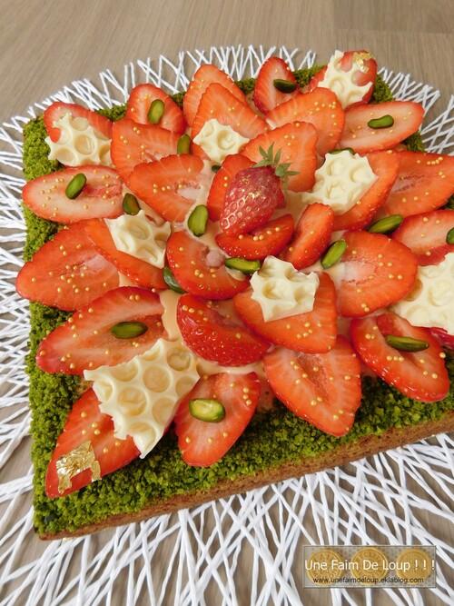 Sablé breton aux fraises & crème caramel