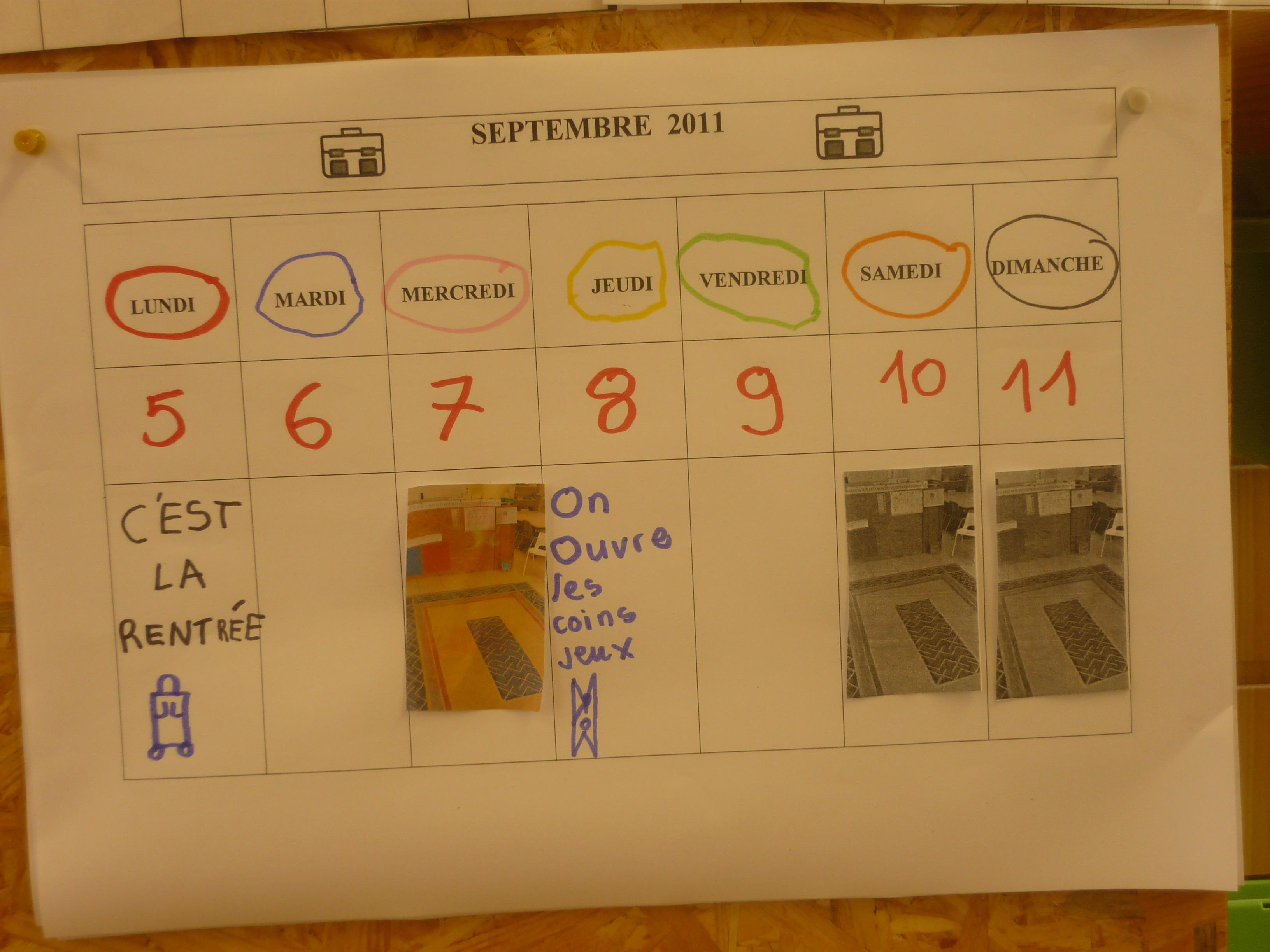 le calendrier de la semine