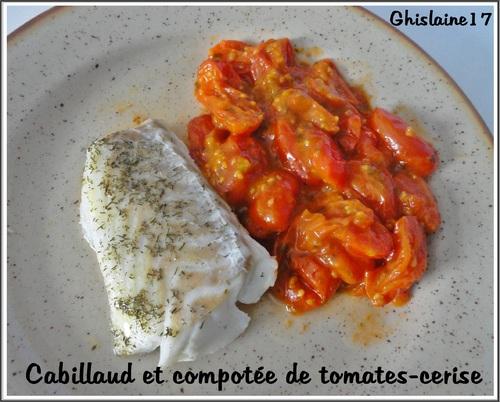 Cabillaud et compotée de tomates-cerise