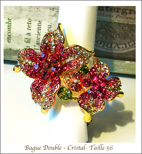 Bague Fleurs double / Couple Flower Ring Cristal Rose / Pink Crystal / Gold plated