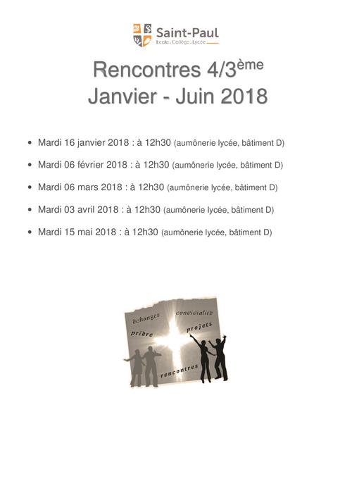 Rencontre Aumônerie 4/3ème Janvier-Juin 2018