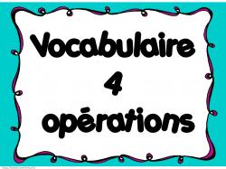 C3 - Vocabulaire des 4 opérations