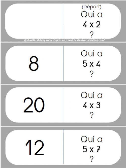 Table multiplication jeux imprimer - Domino table de multiplication ...
