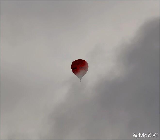Montgolfières dans le gris du ciel