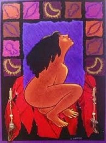 Femme nue assise sur ses pieds