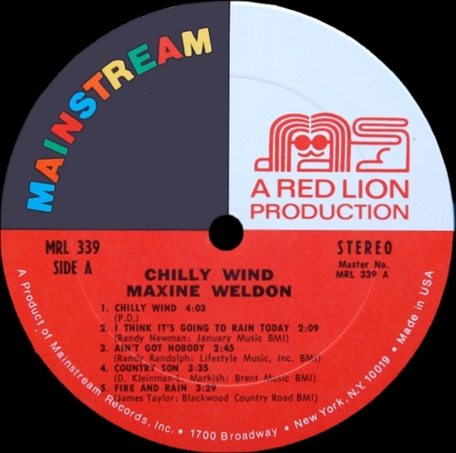 "Maxine Weldon : Album "" Chilly Wind "" Mainstream Records MRL 339 [ US ]"