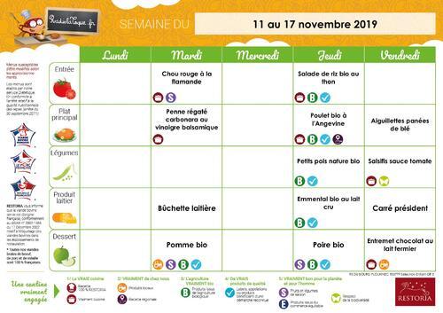 Menus du 11 au 15 novembre