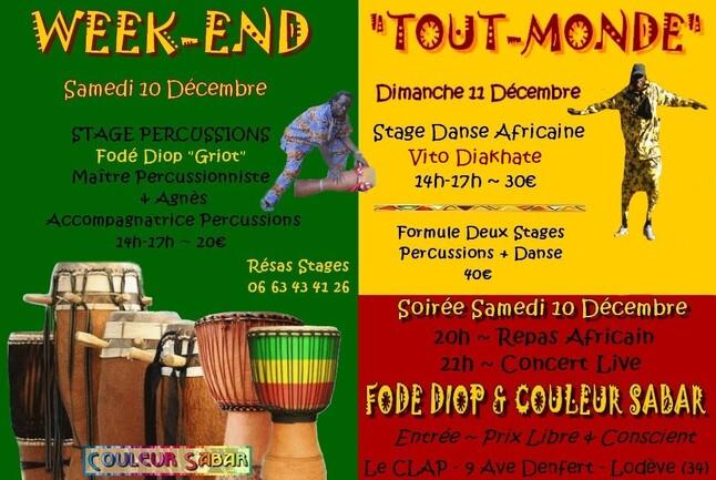 """► Week-End """"Tout-Monde"""" avec Fodé Diop & Couleur Sabar [Sam 10 & Dim 11 Décembre 2016]"""