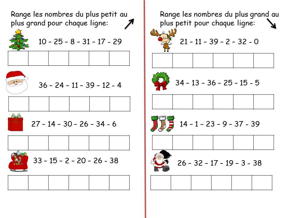 Ranger Les Nombres 39 Cp Noel La Classe De Corinne