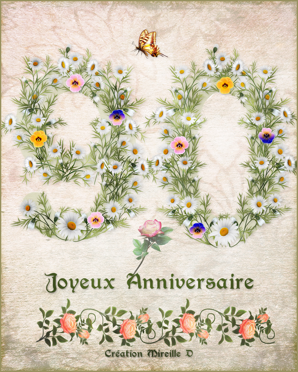 carte d 39 anniversaire pour 90 ans chez mireille d. Black Bedroom Furniture Sets. Home Design Ideas