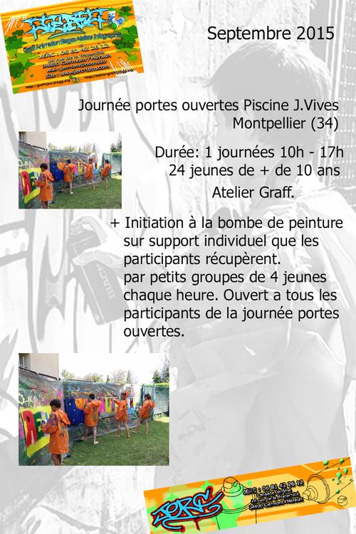 Atelier graff initiation à la bombe par petits groupe lors de la journée portes ouvertes de la piscine J. Vives à Montpellier (34) 09/2015 toutes les photos :  http://atelier-graff.bloog.org