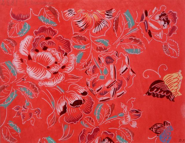 Raoul Dufy, Composition fleurs et papillons sur fond rouge , vers 1920-1924.