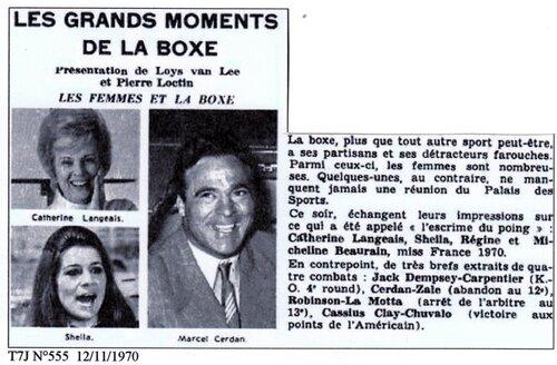 15 Décembre 1970 / LES GRANDS MOMENTS DE LA BOXE