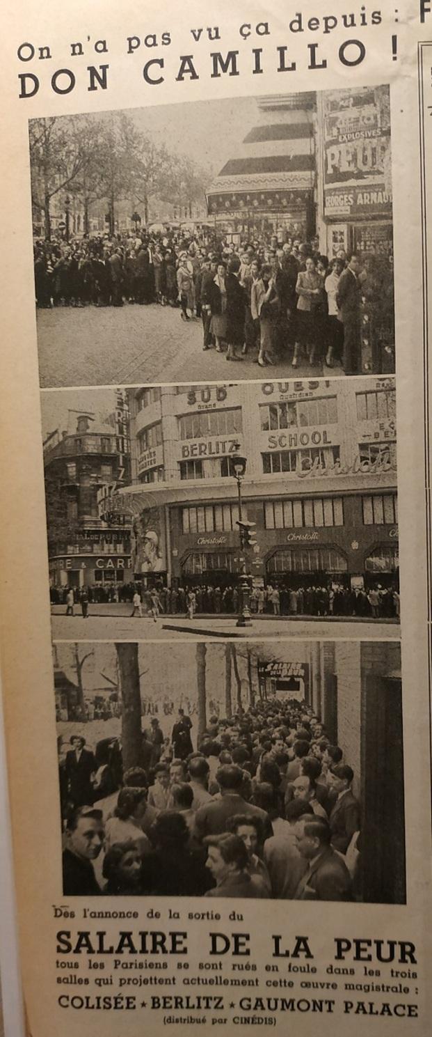 LE SALAIRE DE LA PEUR - YVES MONTAND BOX OFFICE 1953