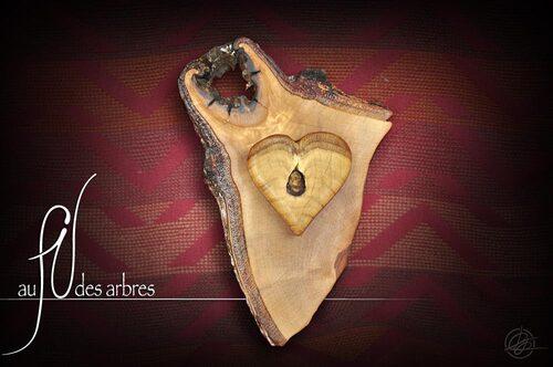 Sculpture bois, cœur