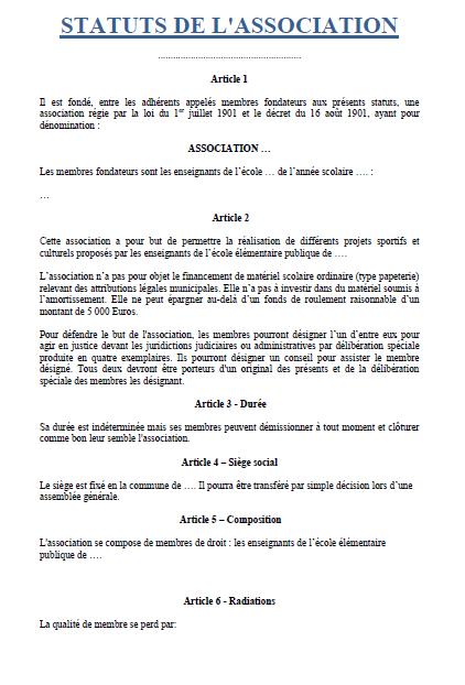 Statuts d'association