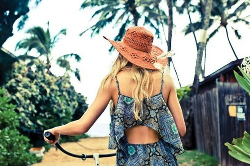 beach, blonde, fashion, girl, hat, outfit