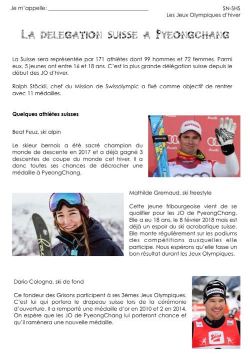 Délégation suisse aux JO 2018