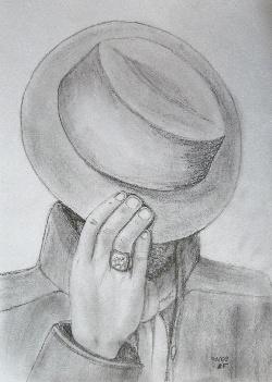 Homme au chapeau, dessin