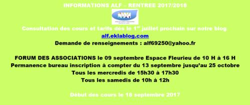 Informations ALF rentrée 2017 2018