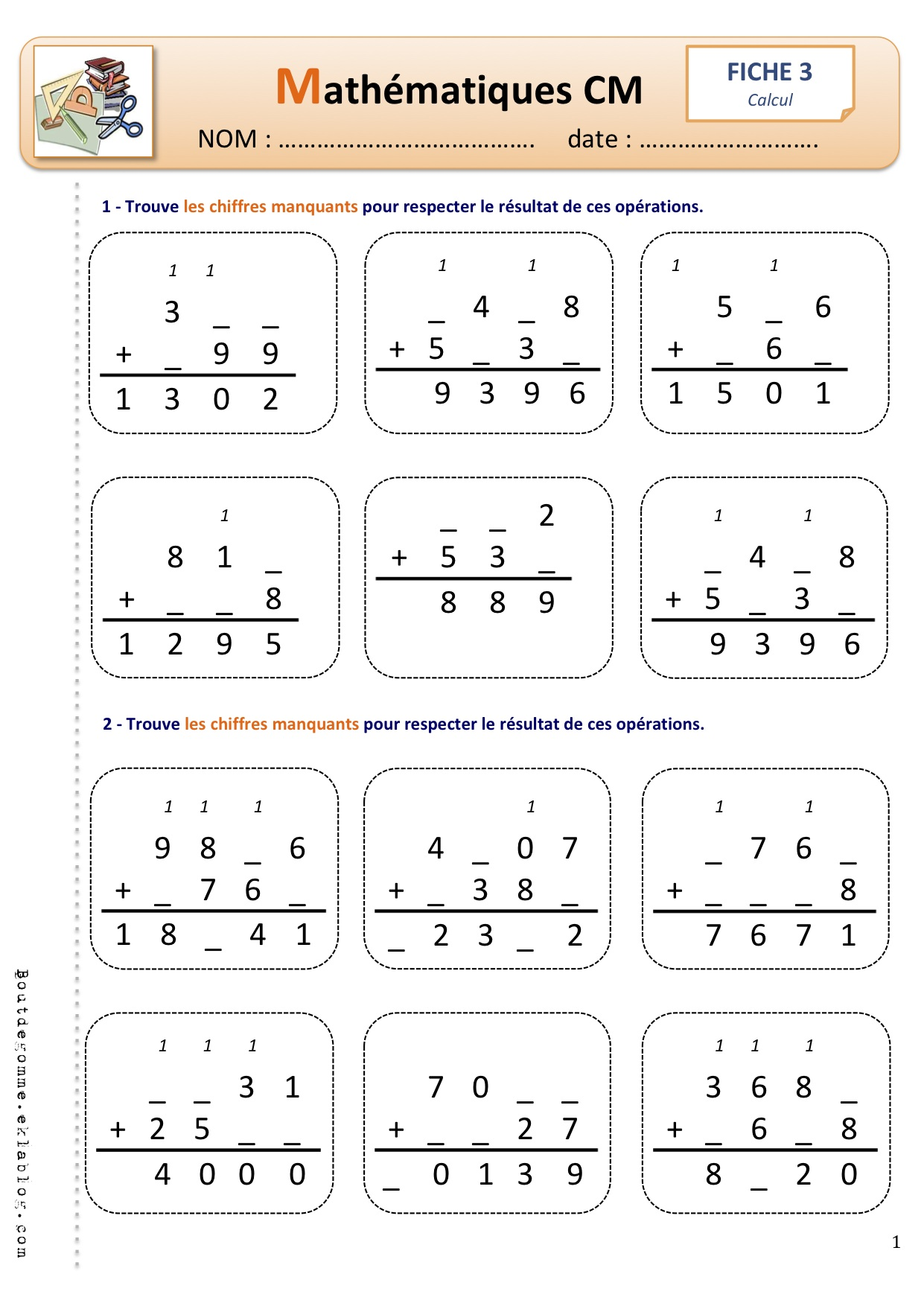 Addition addition cm1 imprimer ateliers pour les for Exercice multiplication cm1