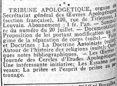 Tribune Apologétique - La doctrine antoiniste (1911)