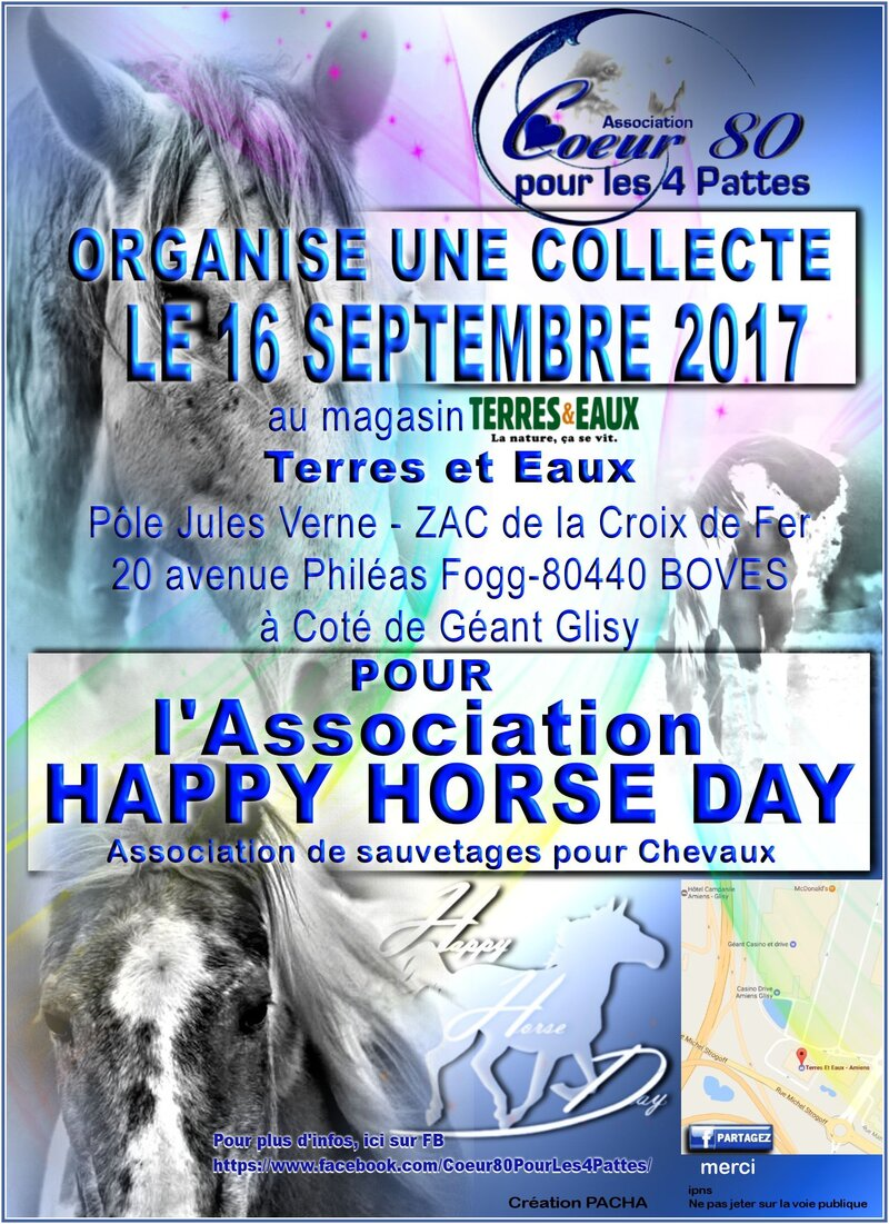 Prochaine collecte le 16 SEPTEMBRE 2017 pour l'Association Happy Horse Day