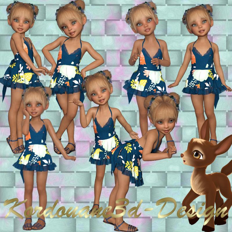 My Doll : Fillette et faon (tube-render)