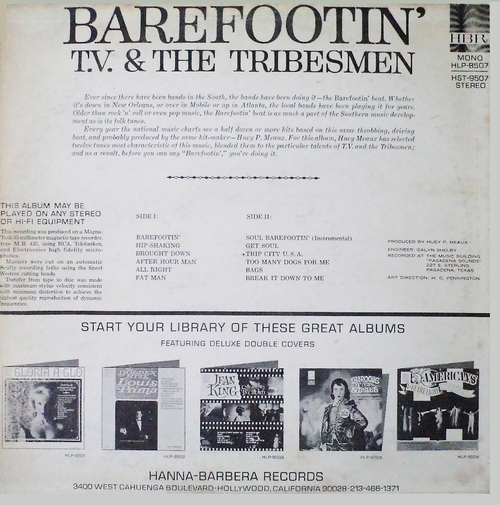 "T. V. & The Tribesmen : Album "" Barefootin' "" Hanna-Barbera Records HST-9507 [ US ]"