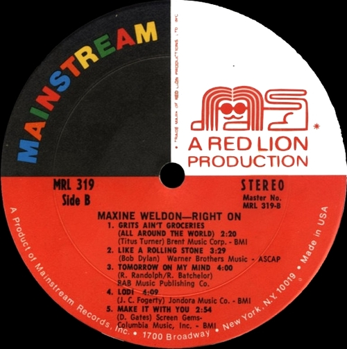 "Maxine Weldon : Album "" Right On "" Mainstream Records MRL 319 [ US ]"