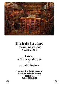 le 24 Octobre 2015 à  16 h se tiendra le club de lecture