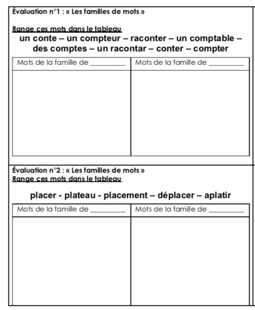 Mini évaluations en français ce2