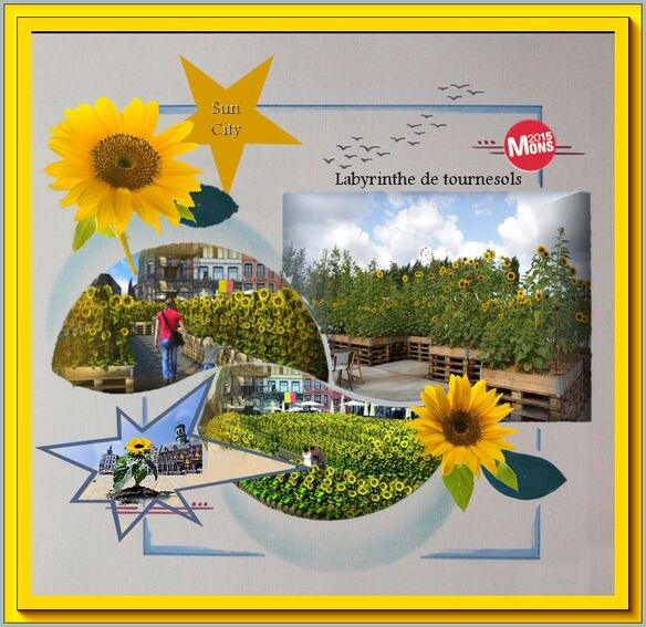 Mozaïculture, sun city,Labyrinthe ,  tournesols,,mons, art en ville,évents bergen, belgie,be,Fanny Bouyagui,Van Gogh ,ecole horticulture mons,juillet 2015,collectif Art Point M,evenements art street, art rue, zonnebloemen, sun flowers,events