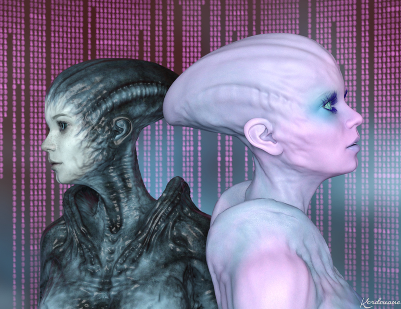 Duo d'Aliens fait entièrement avec Daz Studio