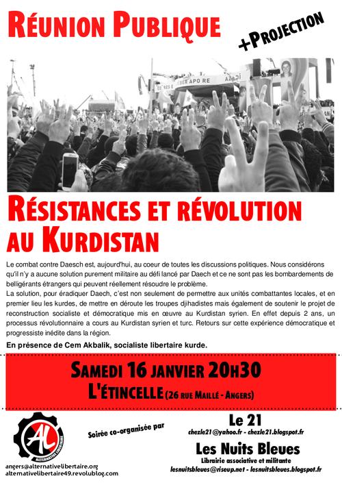 Réunion publique samedi 16 janvier: Résistances et révolution au Kurdistan