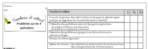 evaluations problèmes relevant des 4 opérations