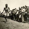 Navajo foot race. ca. 1906. Ganado, Arizona. Photo by Simeon Schwemberger. Source - Utah State Unive