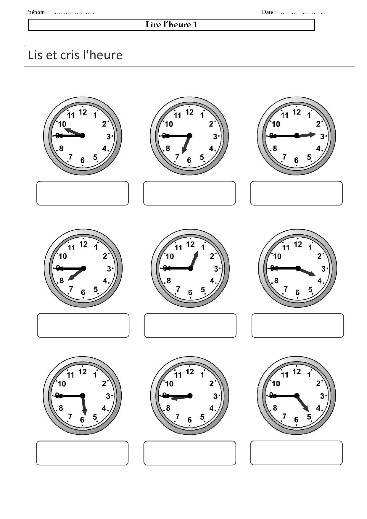 lire l 39 heure ce1 ce2 cm exercices l 39 heure les minutes horlog. Black Bedroom Furniture Sets. Home Design Ideas