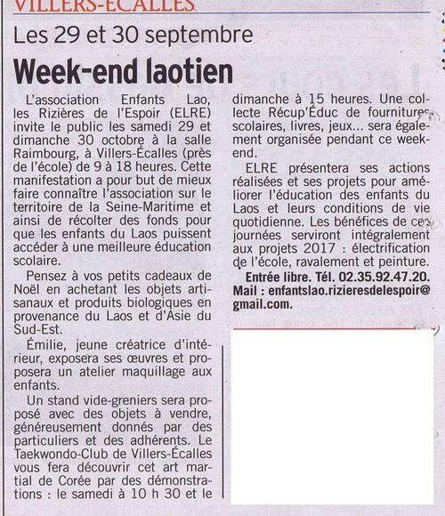 Article Courrier Cauchois - Octobre 2016