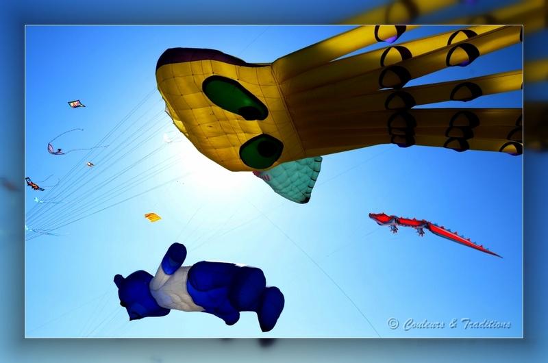Dans les airs, cerfs volants géants