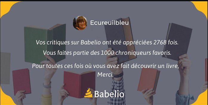 Bonnes nouvelles en provenance de Babelio...