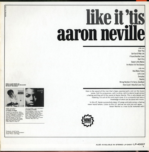 "Aaron Neville : Album "" Like It 'Tis "" Minit Records LP 40007 [ US ]"